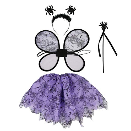 LUOEM 4PCS Halloween Black Purple Spider Costume Girl's Dress-Up Costume Fairy Wings Wand Headband Tutu Sets -