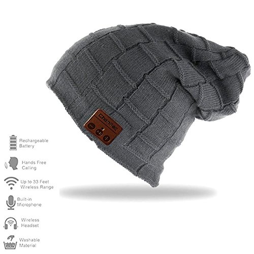 Bluetooth Beanie Hat Cap with Wireless Bluetooth Headphone Headset Earphone for Winter Sports Fitness Gym Exercise, by DeeFec (Big Grid-Darkgray)