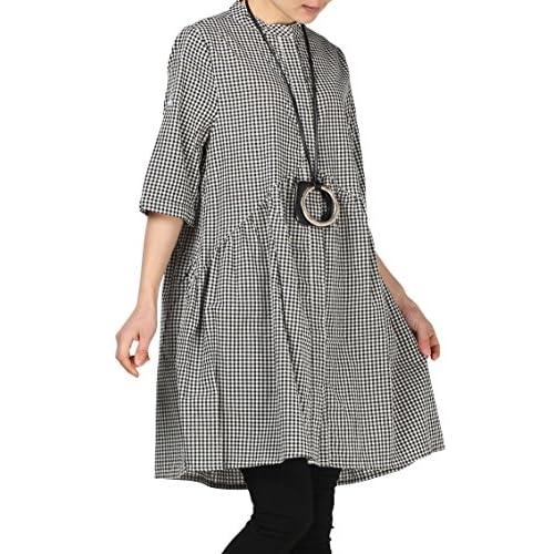 df94115aeb Mordenmiss Women s Plaid A-line Shirt Dress Button Down Half Sleeves Blouse
