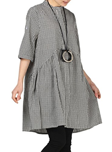 Mordenmiss Women's Plaid A-Line Shirt Dress Button Down Half Sleeves Blouse