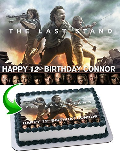 The Walking Dead Edible Cake Topper Personalized Birthday 1/4 Sheet Decoration Custom Sheet Party Birthday Sugar Frosting Transfer Fondant Image ~ Best Quality Edible Image for cake -