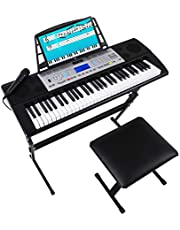 $99 » Mugig Electronic Piano Keyboard, 61-Key Portable Electronic Keyboard Piano with LCD Display, Keyboard Stand and Piano Stool for Kids Beginner Adults