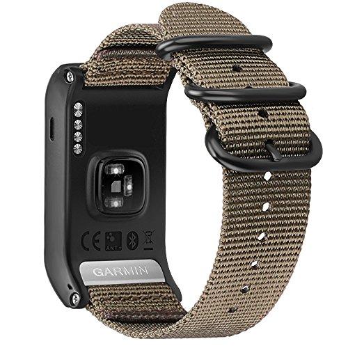 Fintie Band for Garmin VIVOACTIVE HR, Soft Nylon Sport Straps Adjustable Replacement Watch Bands with Metal Buckle Wristband for Garmin Vivoactive HR Sports GPS Smart Watch, Desert Tan