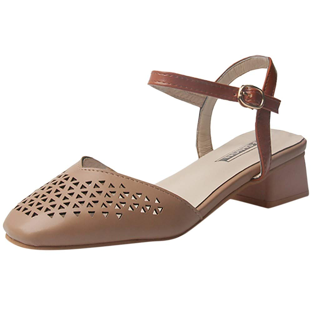 Mid Chunky Heels Closed Pointed Toe Pumps Thick Casual Ankle Buckle Strap Square Shoes (US:6, Khaki)