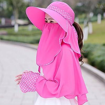 Xing Han Chapeau De Plage Sunhats Femmes Costume Cyclisme Solaire Voyage Loisirs Été Cool Cap Marée Mode Femmes D'Été Thé Picking Hat, B Rose Rouge