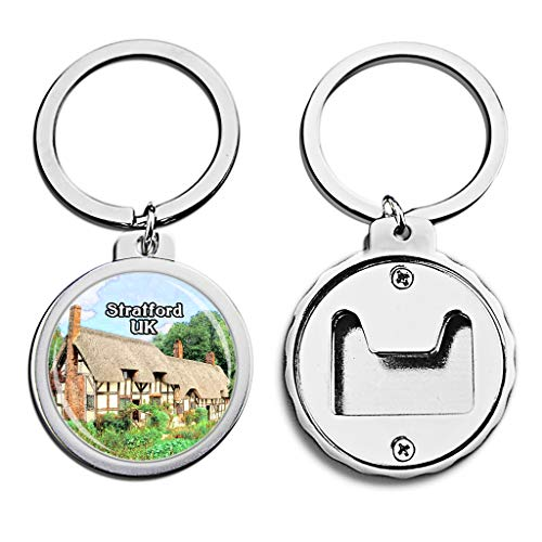 UK United Kingdom Bottle Opener Keychain Anne Hathaway's Cottage Stratford Britain Mini Bottle Cap Opener Keychain England Creative Crayon Drawing Crystal Stainless Steel Key Chain Travel Souvenirs