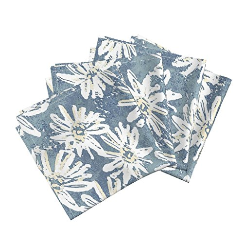 Roostery Daisy Organic Sateen Dinner Napkins Daisy Wash - Teal by Kristopherk Set of 4 Cotton Dinner Napkins Made