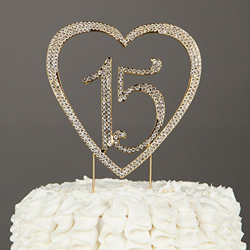 Ella Celebration 15 Heart Cake Topper, Gold 15th Birthday Party Quinceañera Rhinestone Metal Decoration (Gold) (Cake Heart Gold)
