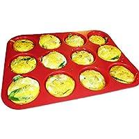 Keliwa 12 Cup Silicone Muffin - Cupcake Baking Pan / Non - Stick Silicone Mold / Dishwasher - Microwave Safe