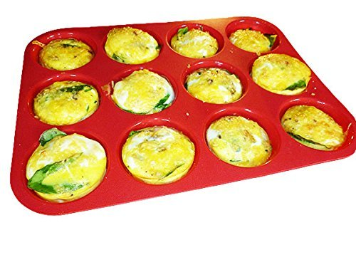 keliwa-12-cup-silicone-muffin-cupcake-baking-pan-non-stick-dishwasher-microwave-safe-21-free-recipes