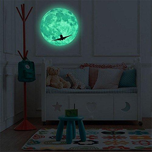 Gotian 3D Luminous Moon Sticker, Large Moon Fluorescent Wall Sticker Removable Dark Glow Sticker Home Room Decor (C: ()