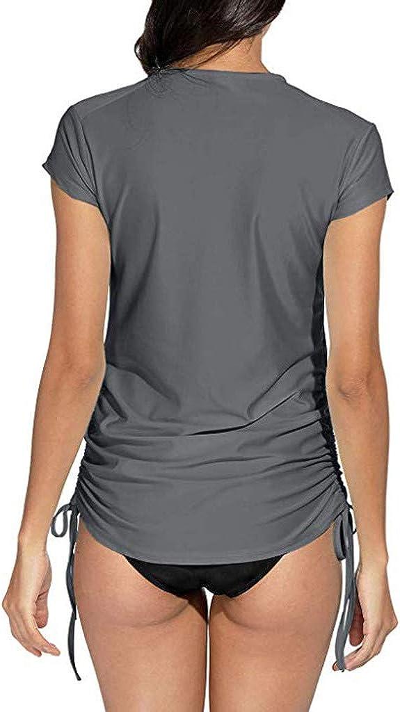 Womens Rash Guard Sun Protection UV Surf Zipper Front Tops Short Sleeve Swim Shirt