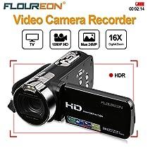 FLOUREON 1080P Full HD Portable Camcorder Digital Video Camera DV 2.7 TFT LCD Screen 16x Zoom 270 Degrees Rotation for Sport /Youtube/Short Films Video Recording (1080P DV Camcorder,BLACK)