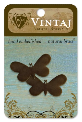 Vintaj 2-Piece Fairy Butterfly Altered Blank Pendant for Jewelry Making, 33 by 18mm