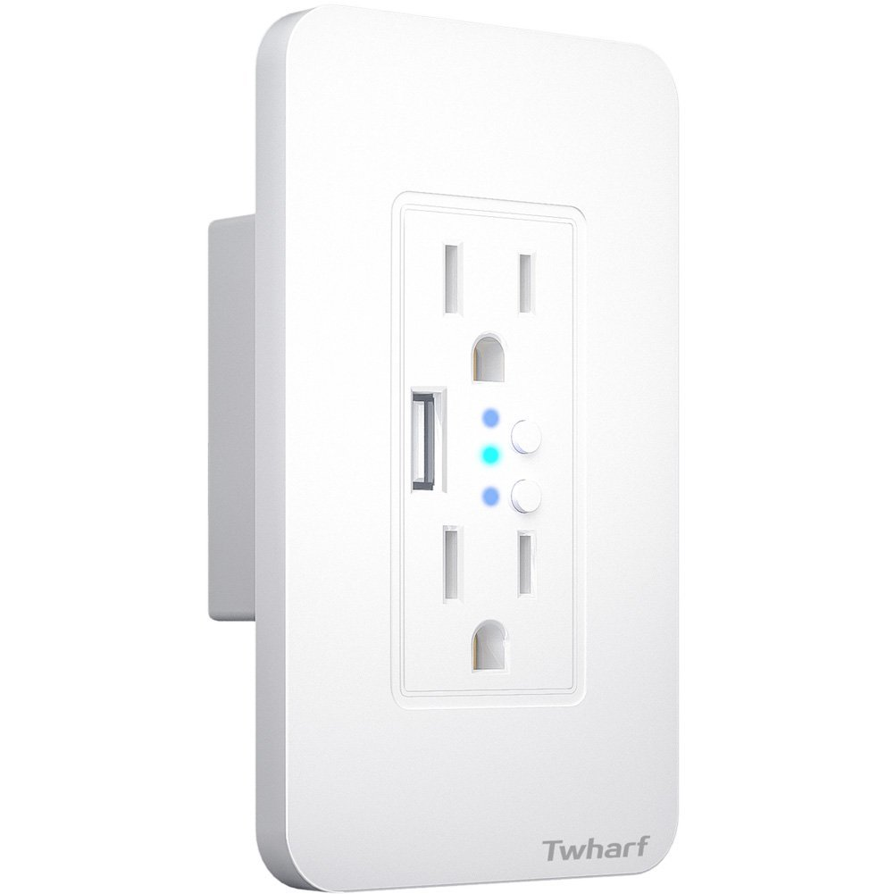 Wifi Smart Plug Twharf Wall Outlet with 2 Individual Control Sockets and 1 USB Ports Compatible with Alexa and Google Home Nest Timing and Remote Control