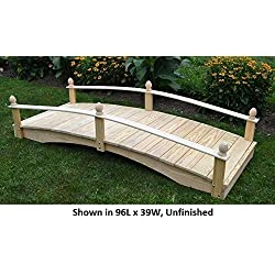 Amish-Made Weight-Bearing Pine 3' x 6' Acorn Garden Bridge, Walnut Stain