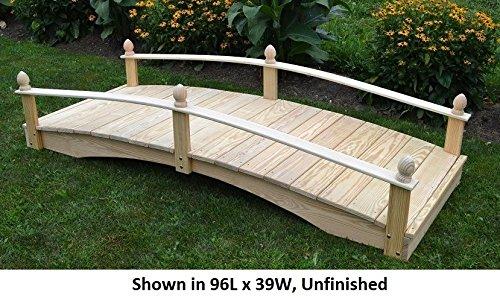 Amish-Made Weight-Bearing Pine 3' x 6' Acorn Garden Bridge, Walnut Stain