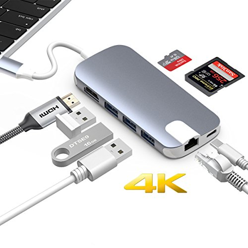 USB C Hub, ALLEASA GN30H 8 in 1 Type C Adapter with 4K HDMI, Gigabit Ethernet, USB C Power Delivery, 3 USB3.0, SD TF Card Reader for MacBook Pro 13″ 15″ 2016/2017 Chromebook DELL XP More (Gray)