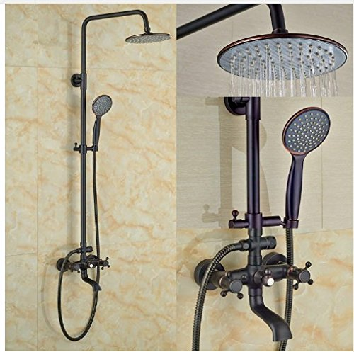 Gowe Contemporary Bath Tub Shower Set 8-in Rainfall Shower Faucet With Handheld Double Levers 1