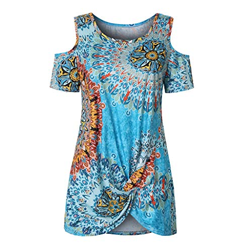 Yucode Womens O-Neck Off Shoulder Flower Printed Tops Front Knot Side Twist Blouses Casual Loose Pullover Shirts Blue