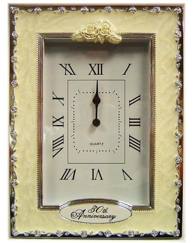 30th Anniversary Pearl Wedding Celebration Quartz Table Clock AT-Giftware 56577868574