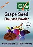 Gluten Free All Natural Grape Seed Flour (4lb Pail) - It Is Truly a Super Superfood!! Loaded with Antioxidants!!! 70 Times Stronger Than Blueberries! FREE Recipe Book.