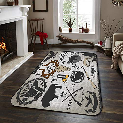 Fantasy Star Non-Slip Area Rugs Room Mat- Wild Elements Hound Rabbit Bun Home Decor Floor Carpet for High Traffic Areas Modern Rug Kitchen Mats Living Room Pads, 4' x 6'