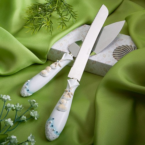 (Beach Theme Wedding Knife & Cake Server Set, 1)
