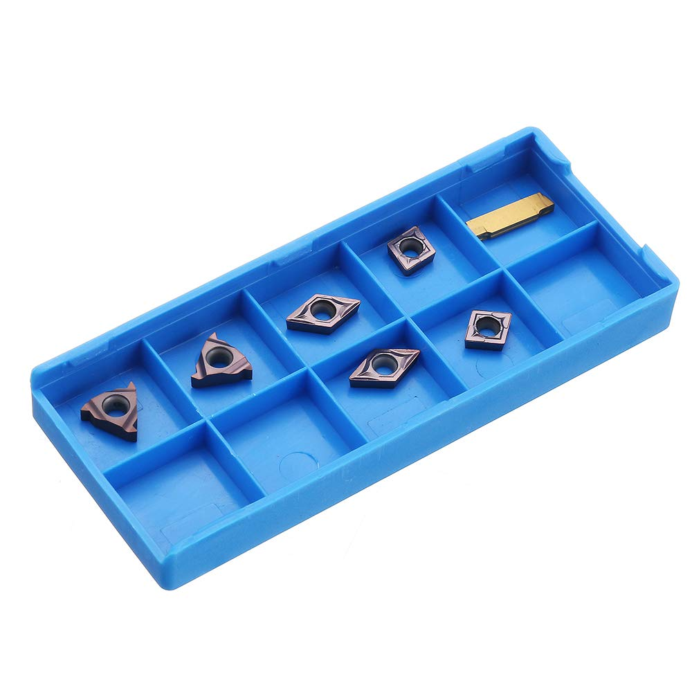 7 Pieces Carbide Insert Set for 10mm Shank Turning Tool Holder Farwind