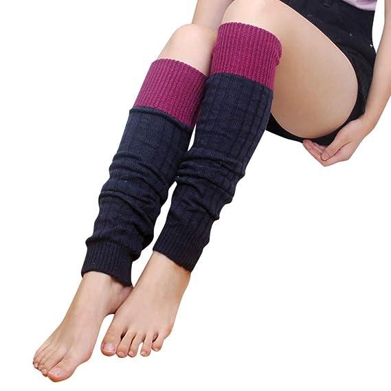 Rawdah_Calcetines Mujer Invierno Divertidos Termicos Algodon Mujeres Invierno Suave Patchwork Boot Calcetines Largos Tejer Piernas Crochet Calentadores ...