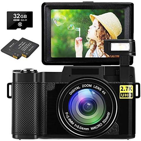 Digital Camera Vlogging Camera 30MP Full HD 2.7K Digital Camera with Retractable Flashlight