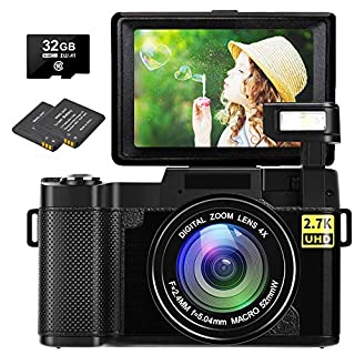 Digital Camera Vlogging Camera 30MP Full HD 1080P Digital Camera with Retractable Flash Light Camera 3 Inch Flip Screen Vlog Camera for YouTube with 2 Batteries