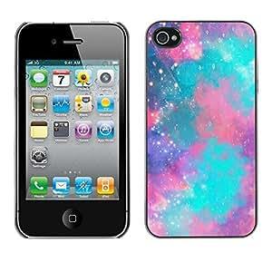 Design Hard ShellStars Universe Teal Purple For Apple Iphone 4/4S Case Cover