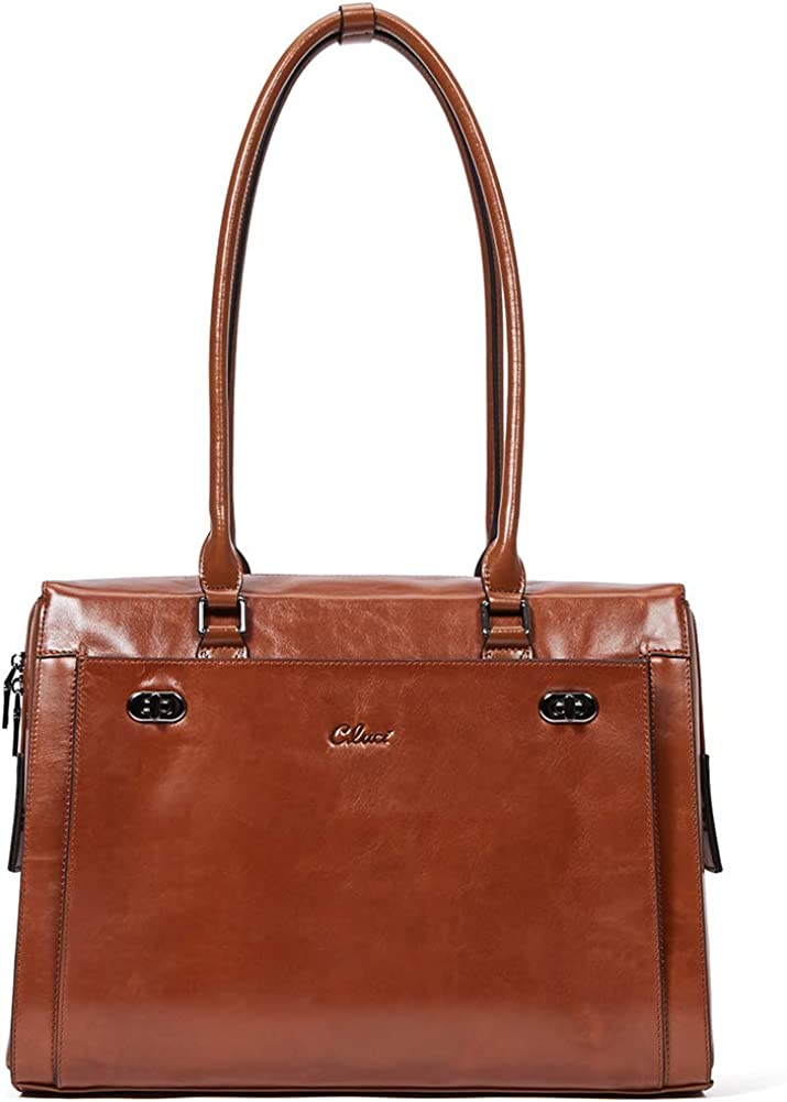 CLUCI Womens Briefcase Oil Wax Genuine Leather 15.6 Inch Laptop Business Vintage Ladies Shoulder Bag