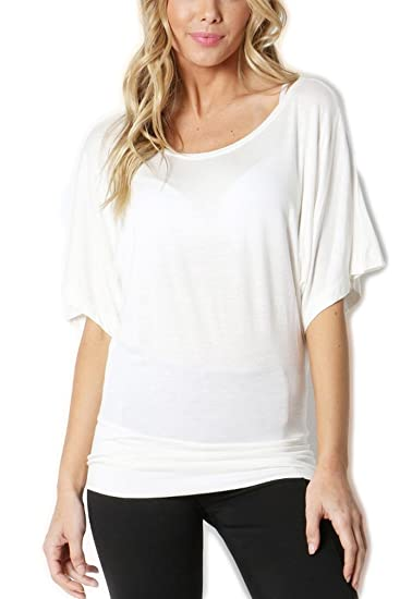 1f14306376f The Classic Womens Short Sleeve Boat Neck Kimono Banded Bottom Detail Dolman  Top in Ivory -