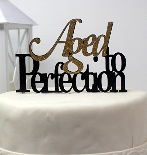 All About Details CATATPE Aged to Perfection Cake Topper (Black and Gold), 4'' height (plus 4'' wood stick handles) and up to 6'' width by All About Details (Image #3)