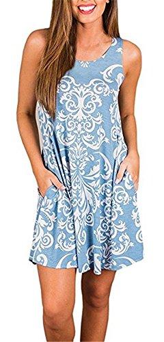 Boho Robes Tshirt Pour Les Femmes Sans Manches Plage D'été Poches Changement Floral Balançoire Casual Bleu Clair Damassé Lâche