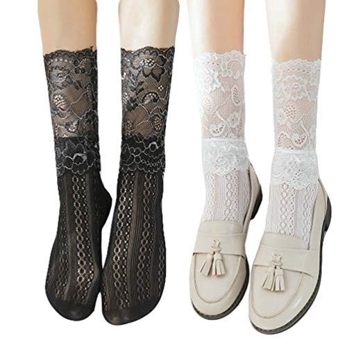 (Women Summer Lace Wedding Party Dress Princess Crew Socks 2 Pack White Black)