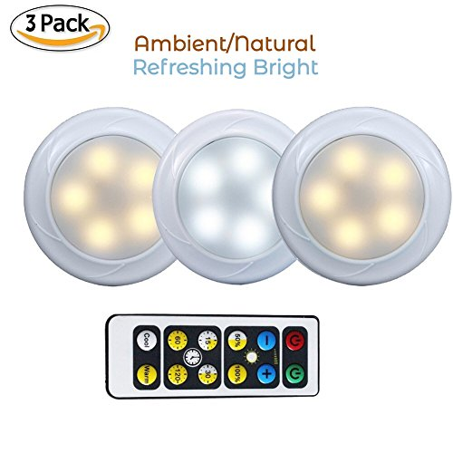 KennellCo Wireless LED Puck light with Remote Control 3 Pack, Under Cabinet Lighting, Touch Activated, Function Tap Light, Cool White/Warm White Light, Button Switch, Color Changing Lights