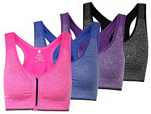 ohlyah Women's Zipper Front Closure Sports Bra Racerback Yoga Bras