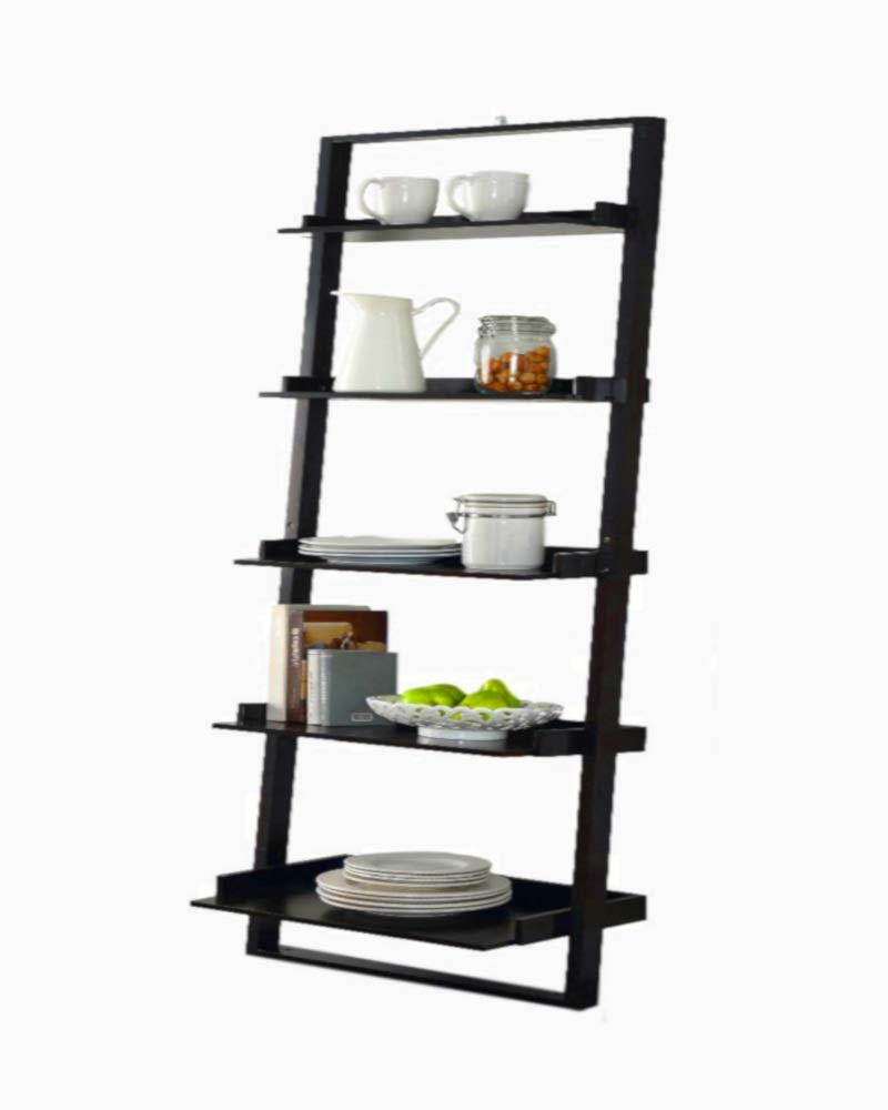 STS SUPPLIES LTD Etagere Ladder Bookcase Shelf Rack DVD CD Corner Wood Floor Stand 5 Tier Decor Angle Mounted Shelving Tower & eBook by AllTim3Shopping. by STS SUPPLIES LTD (Image #1)