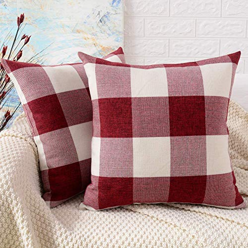 cinsey Decorative Throw Pillow Covers, Cotton Linen Buffalo Check Red White Checkers Plaids Pillow Case Euro Farmhouse Square Home Decor for Couch Bed Sofa Car, Set of 2,18x18 Inch/45x45 cm,Red White