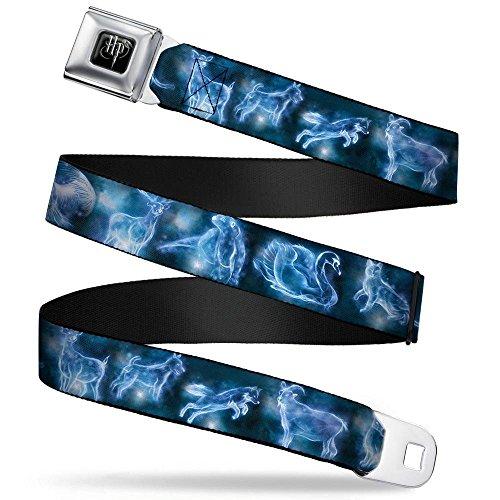 Buckle-Down Seatbelt Belt - Harry Potter Animal Spirits Black/Blue - 1.5