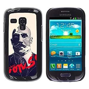 Shell-Star Arte & diseño plástico duro Fundas Cover Cubre Hard Case Cover para Samsung Galaxy S3 III MINI (NOT REGULAR!) / I8190 / I8190N ( Boxer Sir Moustache Movie Retro )