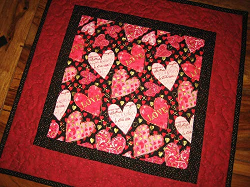 Valentines Day Table Topper, Pink and Red Hearts Table Runner, Quilted 20x20