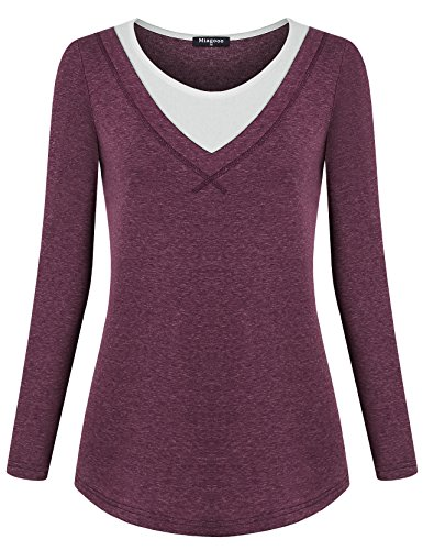 Rayon Women Sweatshirt (Miagooo Long Sleeve For Women, Ladies Scoop Neck Color Block Casual Sweatshirt A Line Flare Hem Tunic Tops For Leggings(Red,XX-Large))