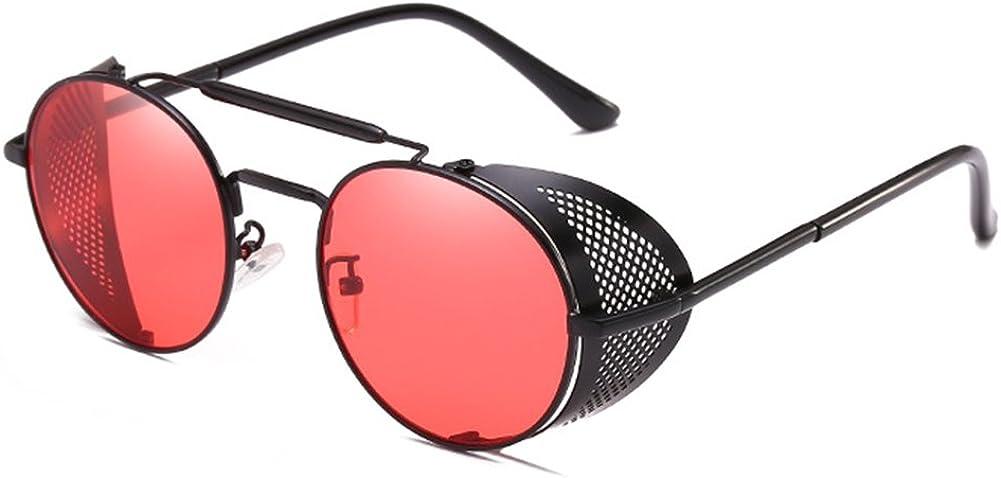 Yying Gafas Redondas de protección lateral Steampunk Vintage Cool UV UV Gafas Redondas para Mujeres Hombres