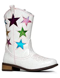 Girls' Metallic Star Western Cowboy Ryder Boots - Vegan Leather - Available In Toddler & Kids Sizes - Top Quality Kids Cowgirl Boots