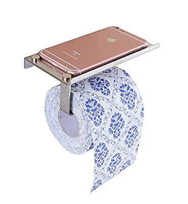 ELLO&ALLO Wall-Mounted Bathroom Lavatory Toilet Paper Holder Tissue Roll Holder with Mobile Phone Storage Shelf Stand, Rust Protection, Light Duty Design