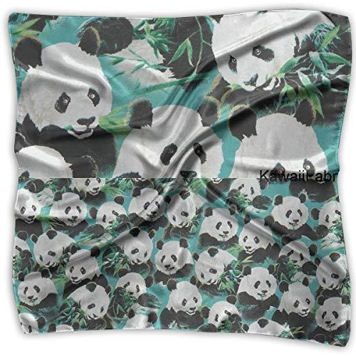 Tela Verdiazul Azul Verdoso Con Lindo Animal Panda Womens Square Polyester Satin Neck Head Scarf Scarves Set